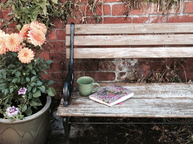 bench and tea